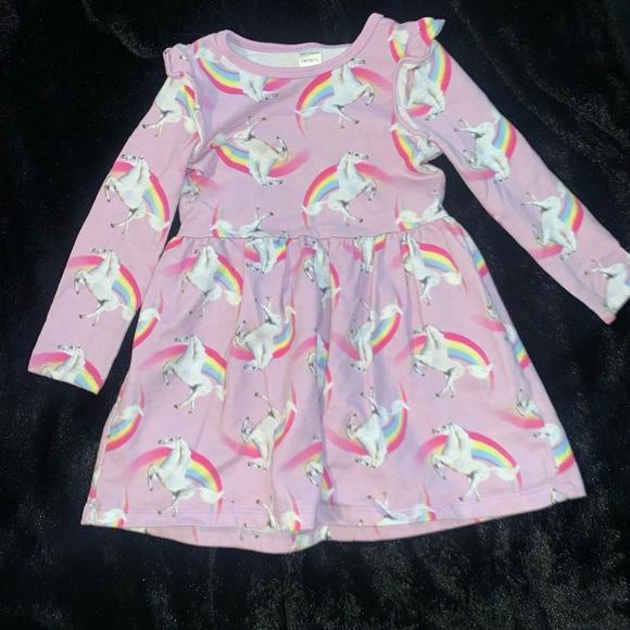Carter's Unicorn Print Dress with Ruffle Sleeve 3T